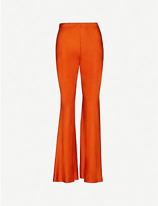 ROSETTA GETTY: Flared satin-crepe trousers