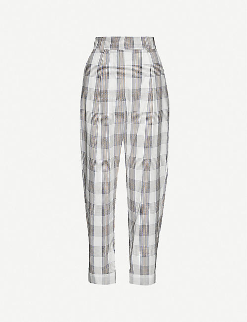 BAUM UND PFERDGARTEN: Noberta checked tapered organic-cotton trousers