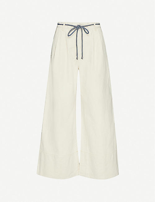 BAUM UND PFERDGARTEN: Flared high-rise cotton and linen-blend trousers