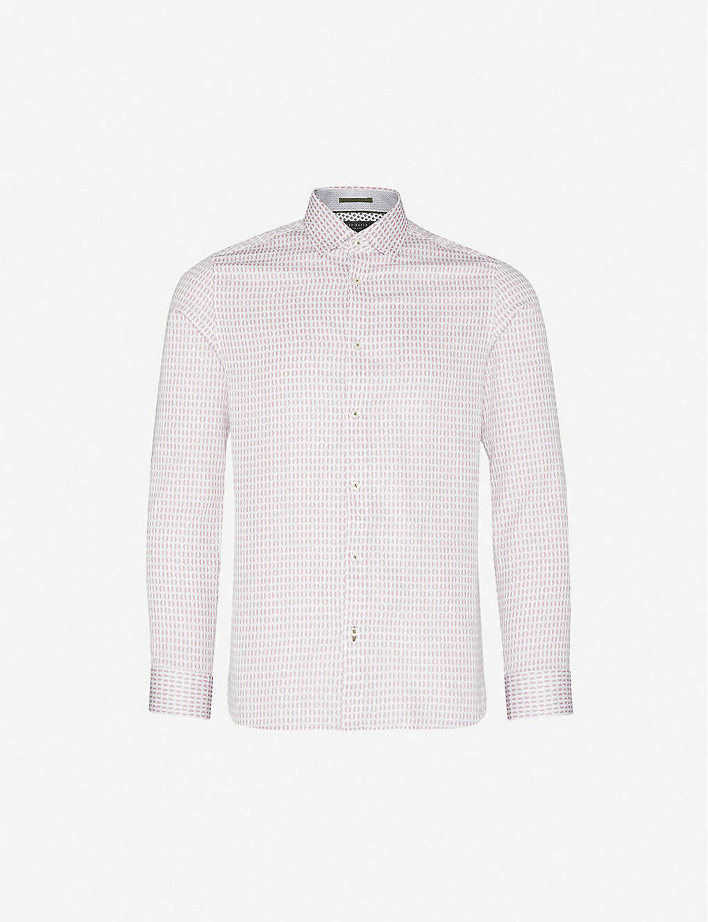TED BAKER: Rewrite geometric-print modern-fit cotton shirt