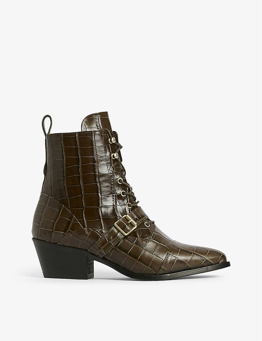 ALLSAINTS: Katy croc-effect leather ankle boots
