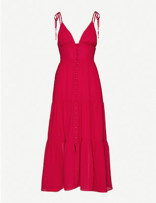 REFORMATION: Jaden semi-sheer crepe midi dress