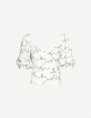 REFORMATION: Lua floral-print crepe top