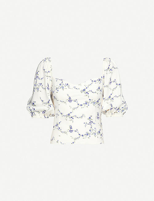 REFORMATION Lua floral-print crepe top