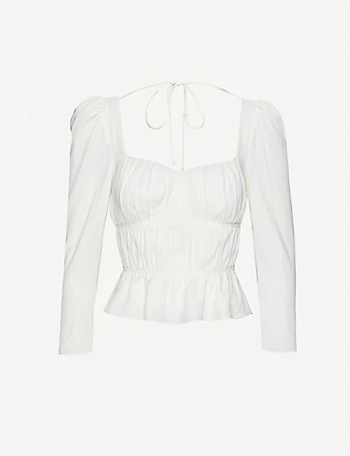 REFORMATION: Plath puff-shoulders crepe top