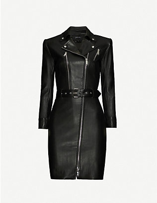 JITROIS: Kristen belted leather dress