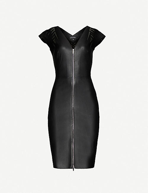 JITROIS: Malibu V-neck leather mini dress