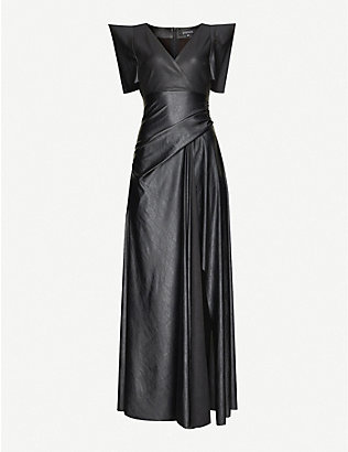 JITROIS: Alemagou V-neck leather gown