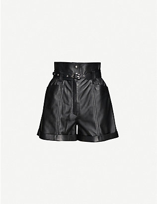 JITROIS: Jade high-rise leather shorts