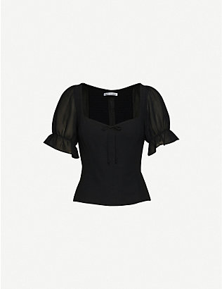 REFORMATION: Delevan puffed-sleeve crepe blouse