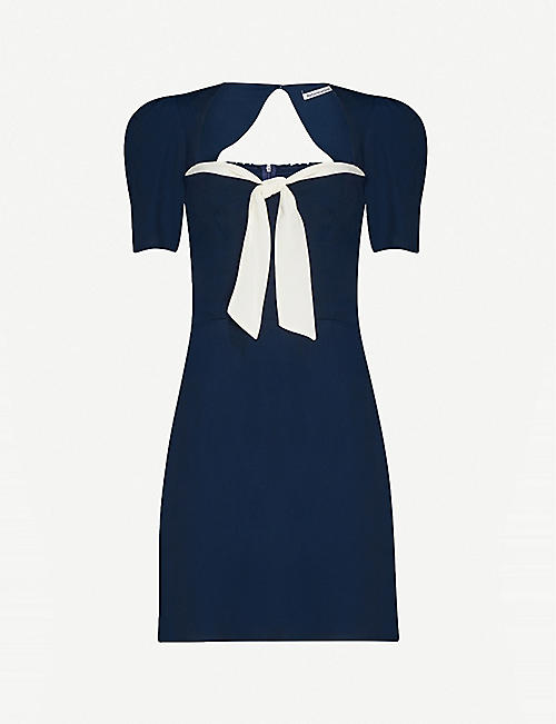 REFORMATION Grant bow-detail crepe mini dress