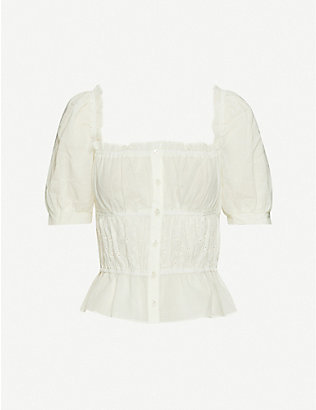 REFORMATION: Sicilia puffed-sleeve organic-cotton blouse