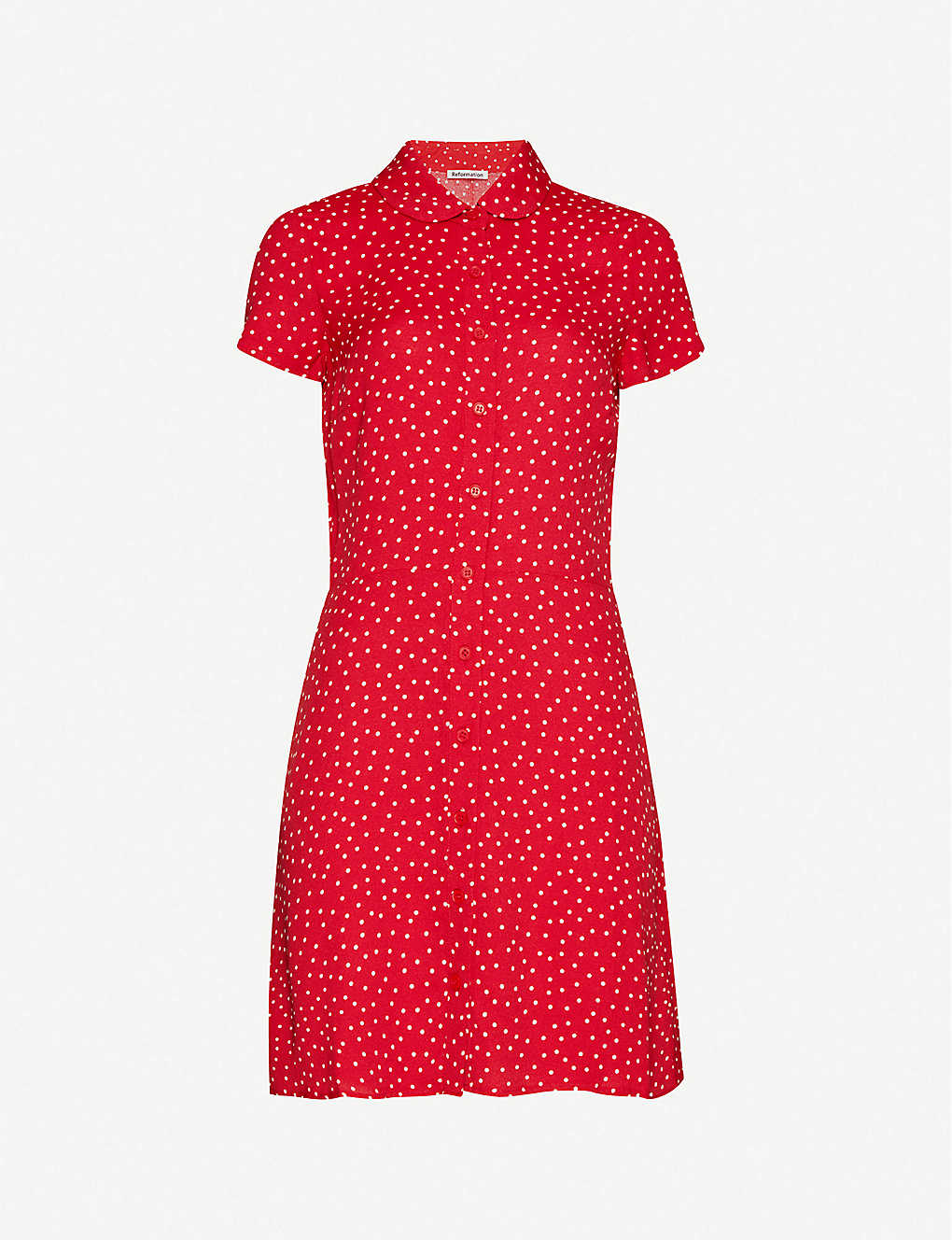 REFORMATION: Sunday polka dot-print crepe mini dress
