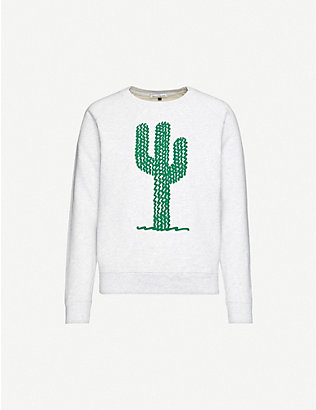 BELLA FREUD: Cactus-print cotton-jersey sweatshirt