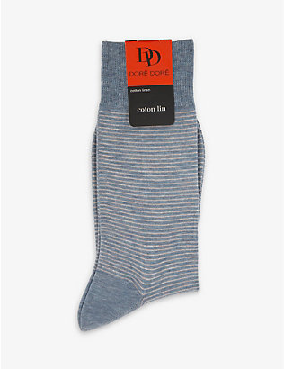 DORE DORE: Striped cotton-blend socks