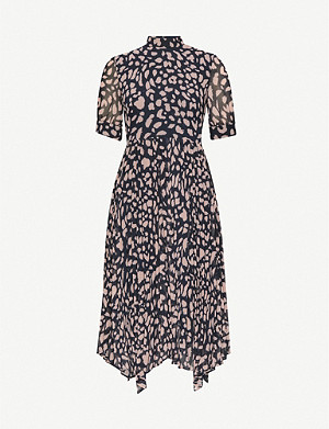 WHISTLES Cheetah print pleated midi dress