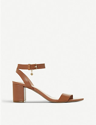 DUNE: Memee leather mid block-heel sandals