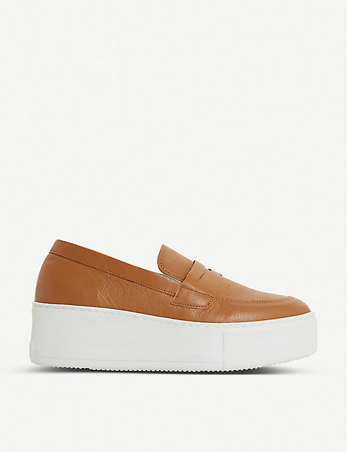 DUNE: Gleem oversized-sole leather loafers