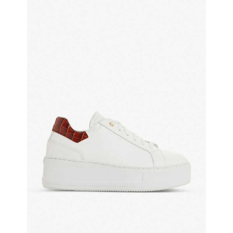 Dune ELDEN CROC-EMBOSSED LEATHER FLATFORM TRAINERS