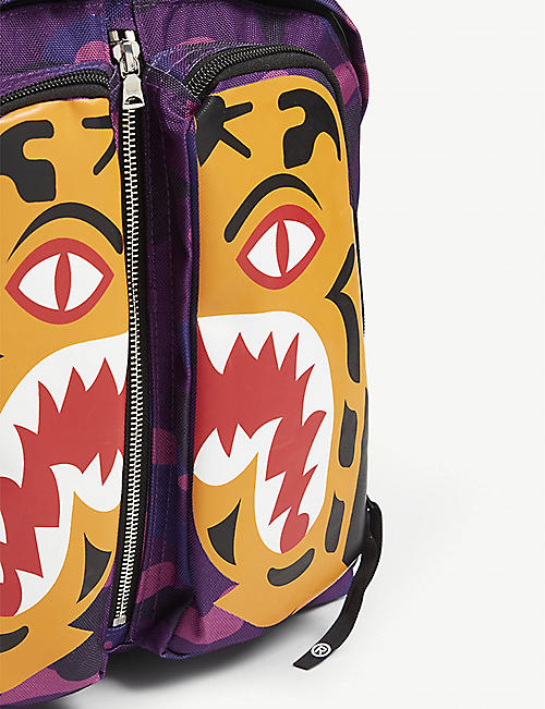 A BATHING APE Tiger Camo canvas backpack
