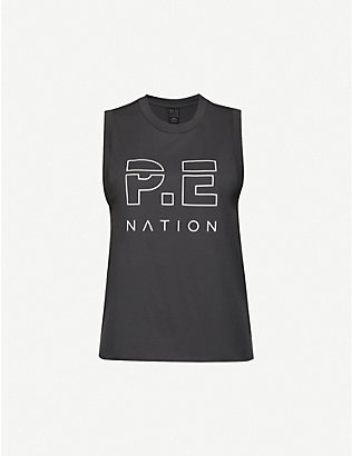 P.E NATION: Shuffle logo-print organic cotton-jersey top