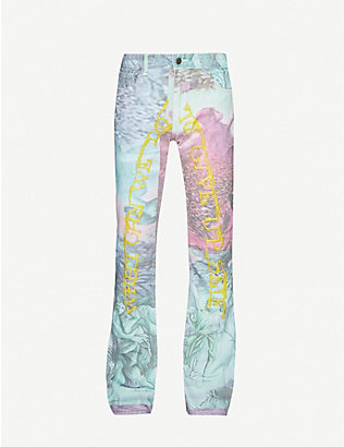 WHO DECIDES WAR BY EV BRAVADO: Embellished graphic-print straight jeans