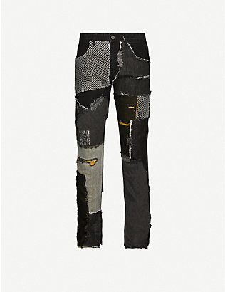 WHO DECIDES WAR BY EV BRAVADO: Patchwork straight jeans