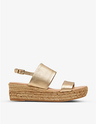 LK BENNETT: Cona metallic leather platform espadrilles