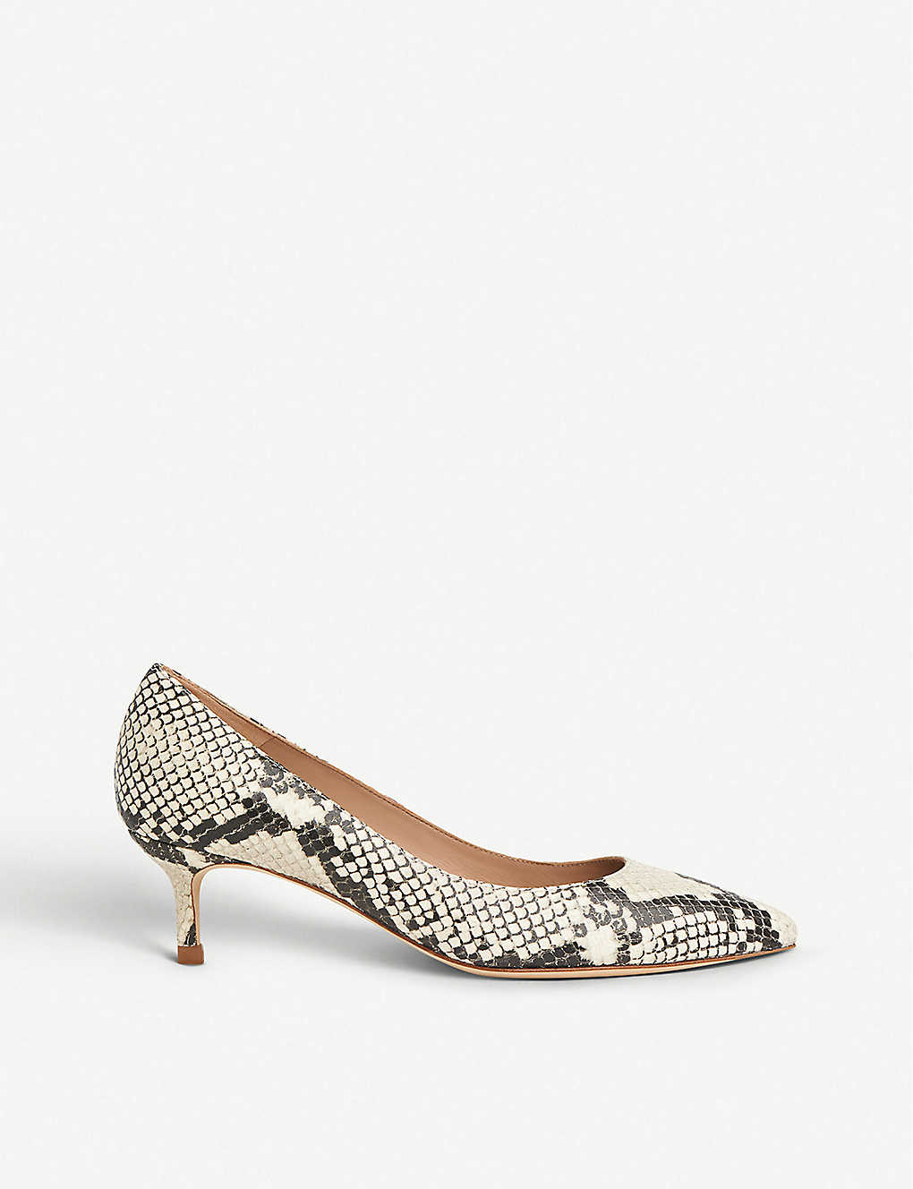 LK BENNETT: Audrey snakeskin-print leather courts