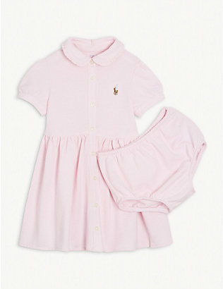 RALPH LAUREN: Logo cotton dress and bloomers set 3-24 months