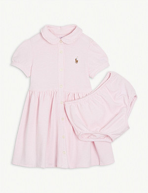 RALPH LAUREN Logo cotton dress and bloomers set 3-24 months