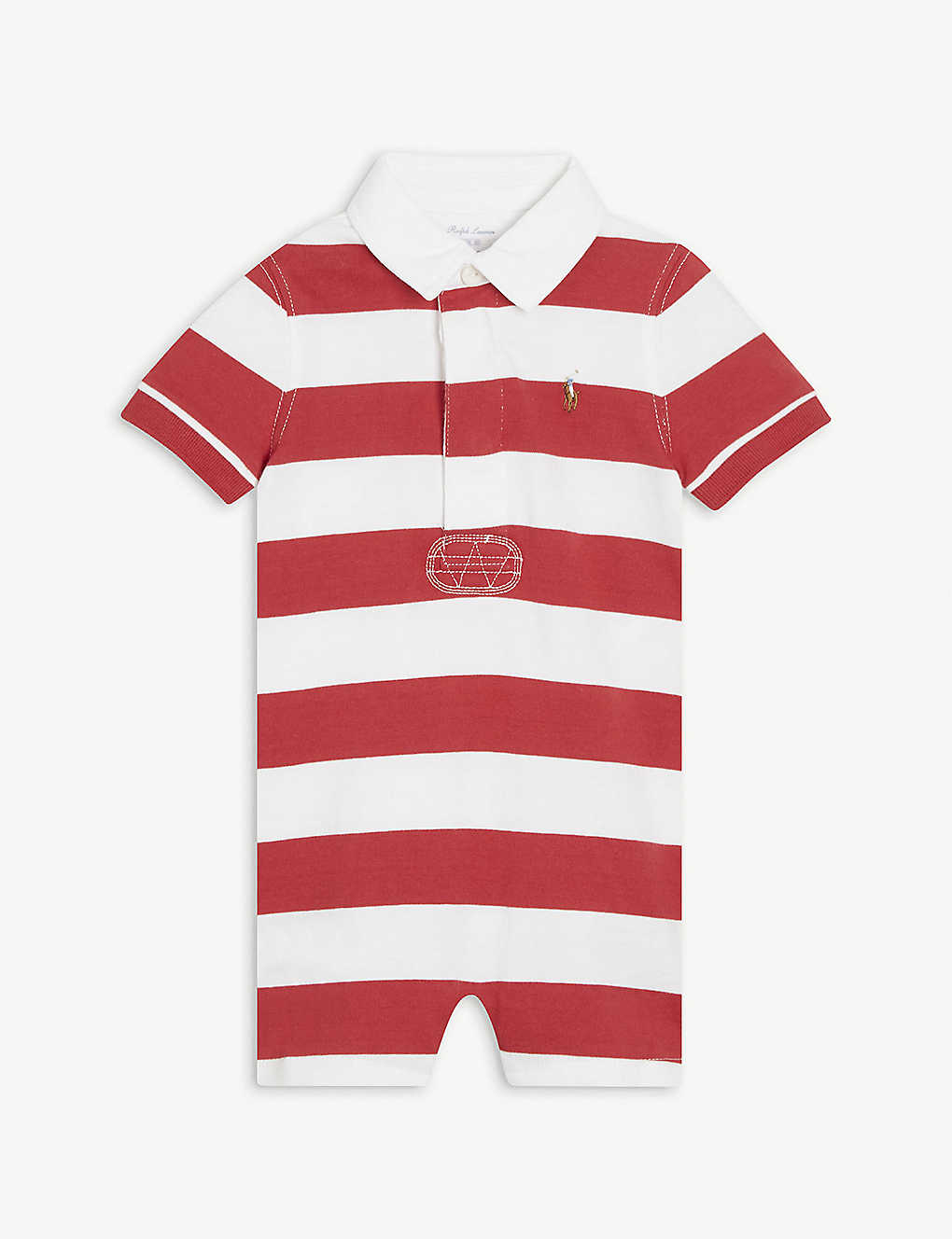 RALPH LAUREN: Rugby stripe cotton shortall 3-24 months