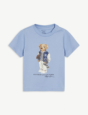 RALPH LAUREN Rugby Polo Bear-print cotton T-shirt 3-24 months