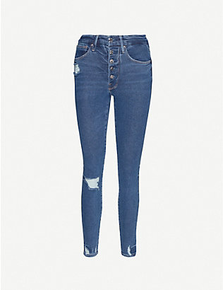 GOOD AMERICAN: Good Waist Button skinny distressed mid-rise jeans