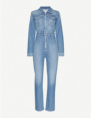 GOOD AMERICAN: Zipped slim-fit denim jumpsuit