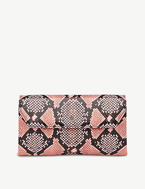 LK BENNETT: Dora snakeskin-print leather clutch
