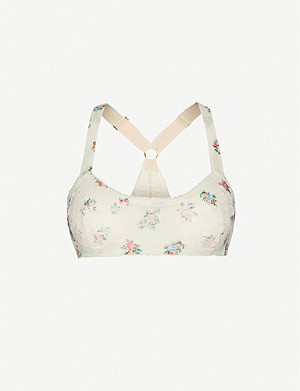 WE ARE HAH HAHrd To Beat soft-cup lace and floral-print stretch-mesh bra