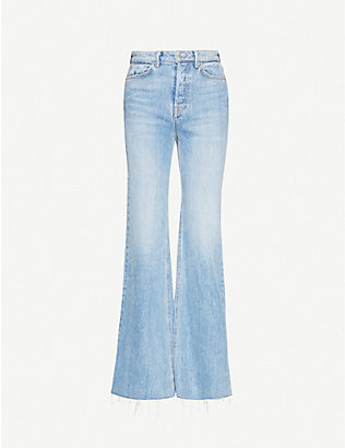 GRLFRND: Carla flared high-rise stretch-denim jeans