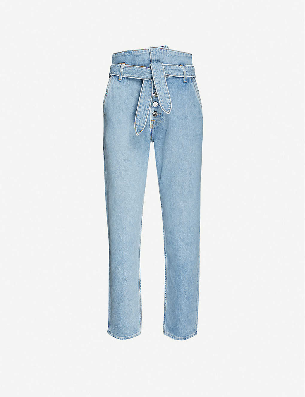 GRLFRND: Emery tie-waist straight high-rise jeans