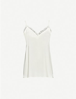 ANINE BING: Belle lace-trimmed V-neck silk camisole top