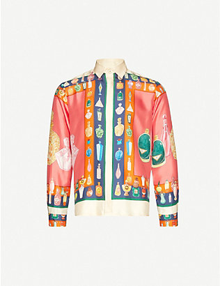 CASABLANCA: Les Parfums graphic-print silk shirt