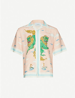 CASABLANCA: Souvenir graphic-print relaxed-fit linen shirt