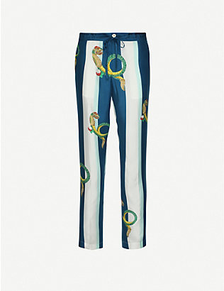 CASABLANCA: Graphic-print slim-fit cotton trousers