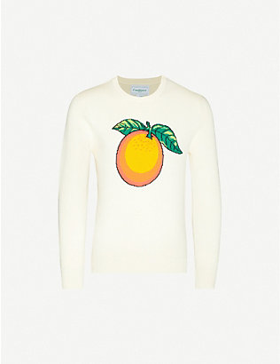 CASABLANCA: Fruit-print slim-fit cotton-knit jumper