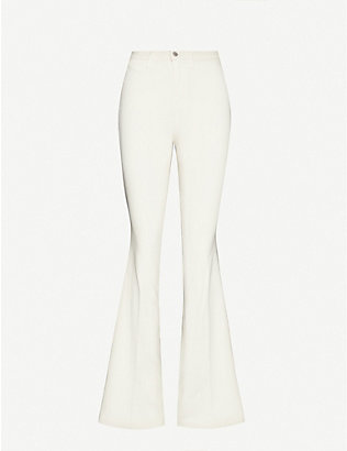 L'AGENCE: Joplin slim-fit flared high-rise jeans