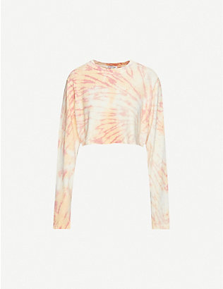 COTTON CITIZEN: Tokyo tie-dye cotton-jersey cropped T-shirt