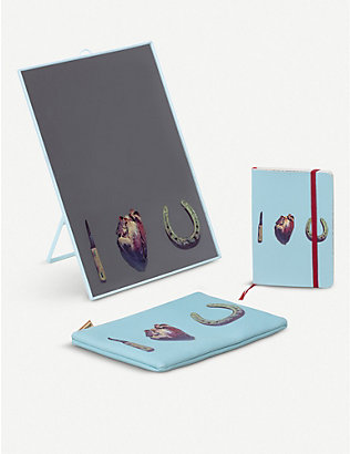 SELETTI: I Love You notebook, mirror and cosmetic case set
