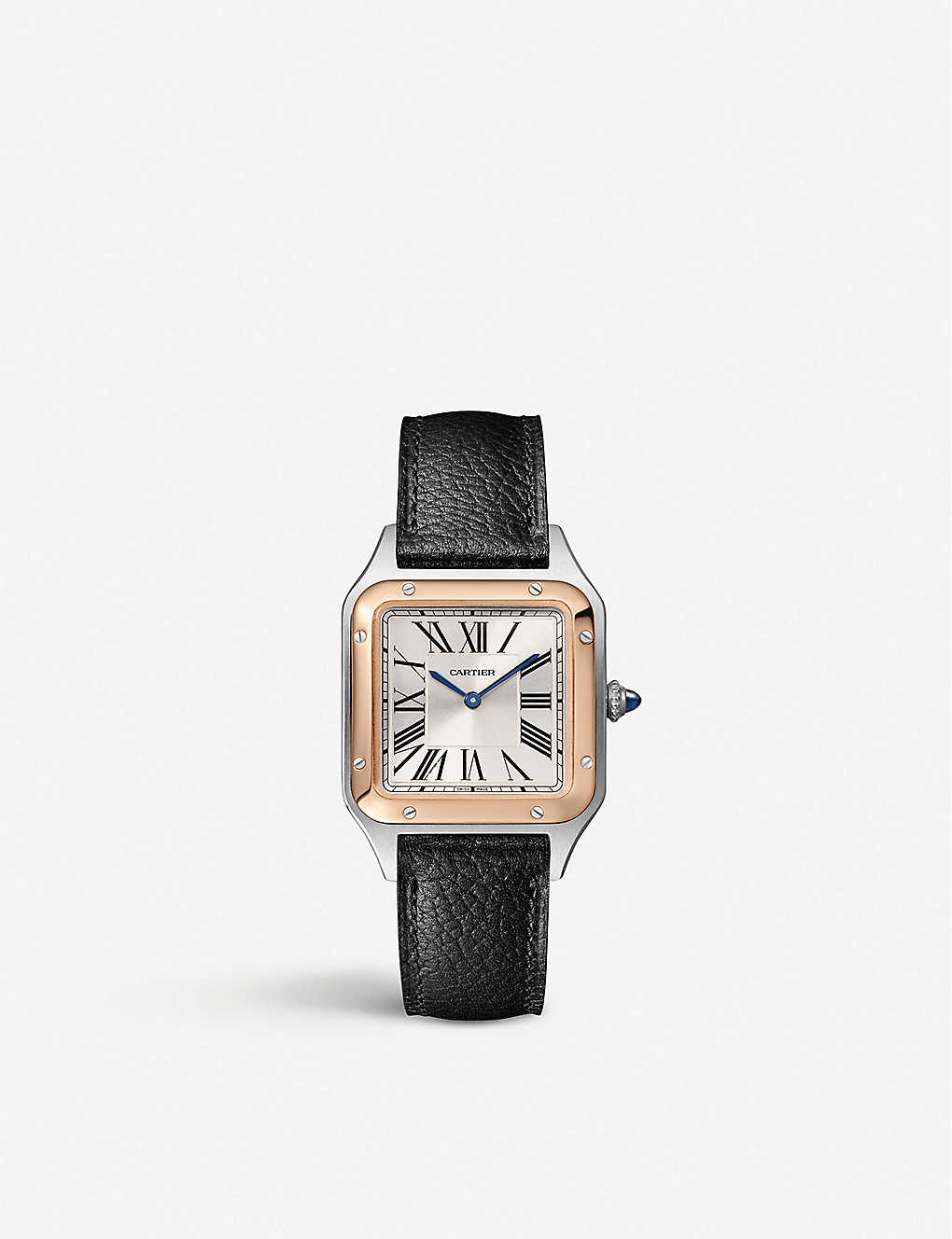 CARTIER: Santos-Dumont Cartier 18ct rose-gold, stainless steel and leather automatic watch