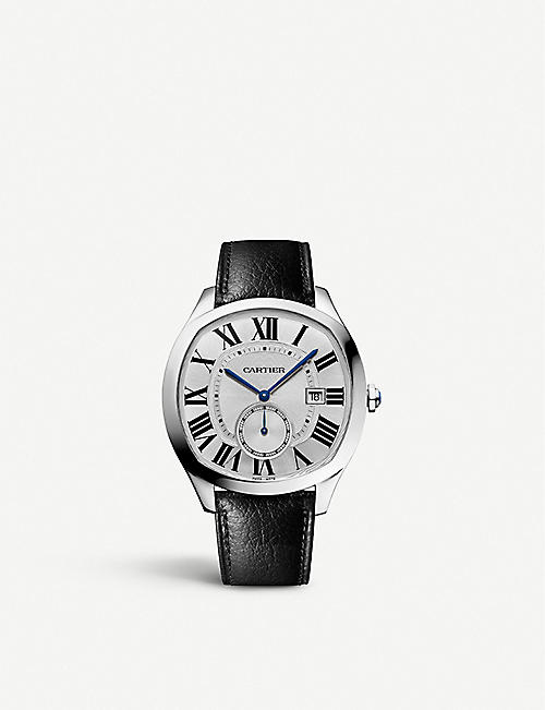 CARTIER: Drive de Cartier stainless steel and leather watch