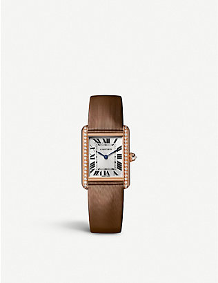 CARTIER: CRWJTA0034 Tank Louis Cartier 18ct rose-gold, diamond and crystal watch